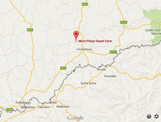 Map Mont Plaisir Guest Farm in Fouriesburg  Thabo Mofutsanyana  Free State  Afrique du Sud