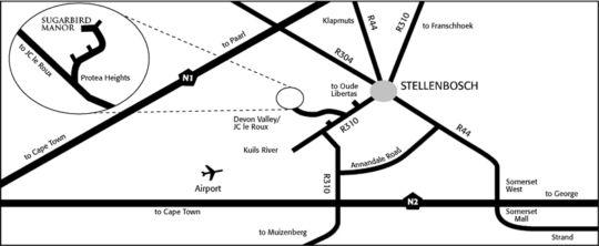 Map Sugarbird Manor  in Stellenbosch  Cape Winelands  Western Cape  South Africa