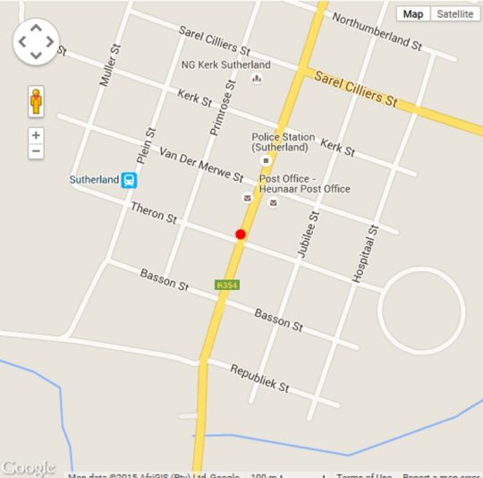 Map Alpha B&B in Sutherland  Hantam Karoo  Northern Cape  South Africa