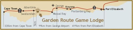 Map Garden Route Game Lodge in Albertinia  Garden Route  Western Cape  South Africa