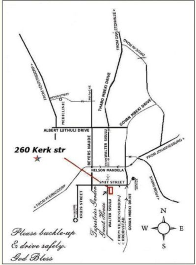 Map A Tapestry Garden Guest House in Potchefstroom  Southern (NW)  North West  South Africa
