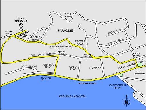 Map Villa Afrikana Guest Suites in Knysna  Garden Route  Western Cape  South Africa