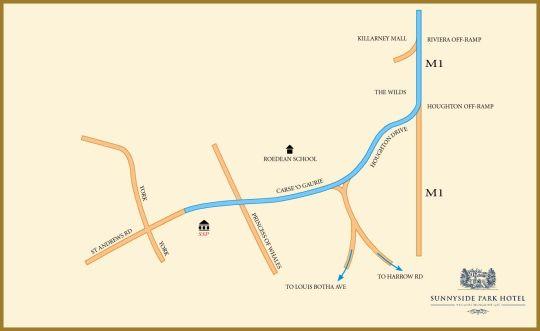 Map Sunnyside Park Hotel in Parktown  Northcliff/Rosebank  Johannesburg  Gauteng  South Africa