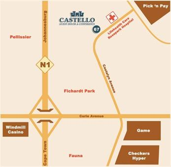 Map Castello Guest House - Bloemfontein in Bloemfontein  Mangaung  Free State  South Africa