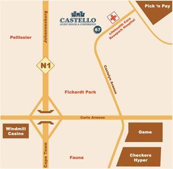 Map Castello Guest House - Bloemfontein in Bloemfontein  Mangaung  Free State  Suid-Afrika