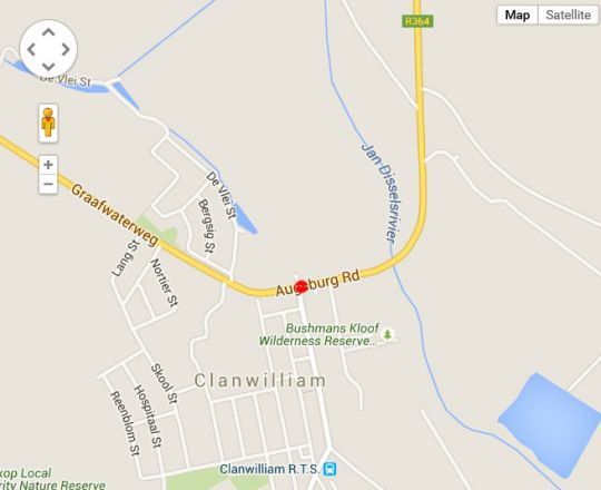 Map Clanwilliam Hotel in Clanwilliam  West Coast (WC)  Western Cape  South Africa