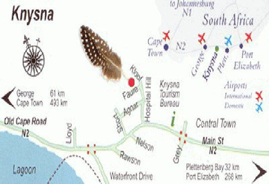 Map Guinea Fowl Lodge Knysna in Knysna  Garden Route  Western Cape  South Africa