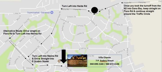 Map Villa Chante in Dana Bay  Garden Route  Western Cape  Suid-Afrika