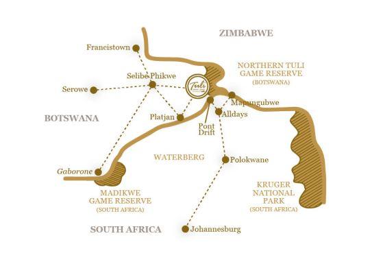 Map Tuli Safari Lodge in Tuli Game Reserve  Botswana