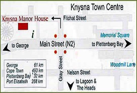 Map Knysna Manor House in Knysna  Garden Route  Western Cape  South Africa