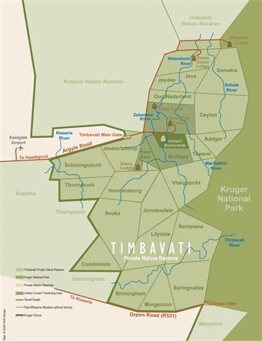 Map Umlani Bushcamp in Timbavati Game Reserve (LIM)  Greater Kruger Park  Kruger National Park (LIM)  Limpopo  South Africa