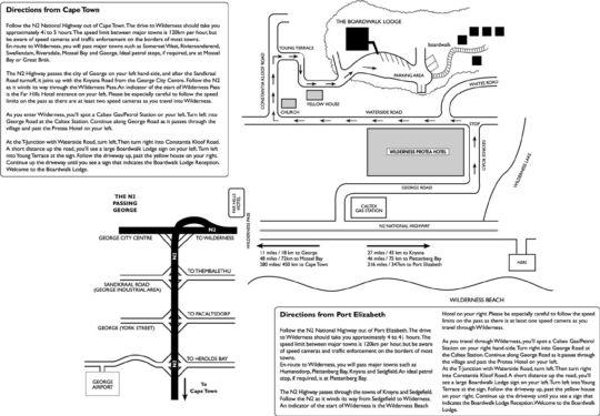 Map Boardwalk Lodge, Wilderness in Wilderness  Garden Route  Western Cape  South Africa