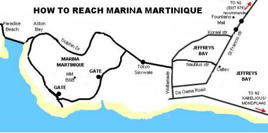 Map Marina Martinique B&B in Jeffreys Bay  Cacadu (Sarah Baartman)  Eastern Cape  South Africa