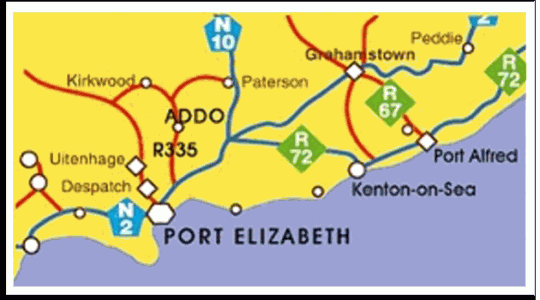 Map Geralds Gift guest House in Addo  Cacadu (Sarah Baartman)  Eastern Cape  South Africa
