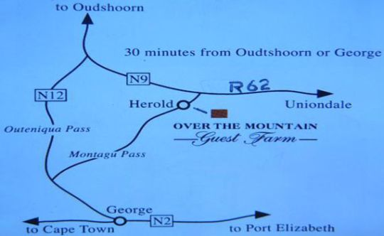 Map Over The Mountain Guest Farm in George  Garden Route  Western Cape  South Africa