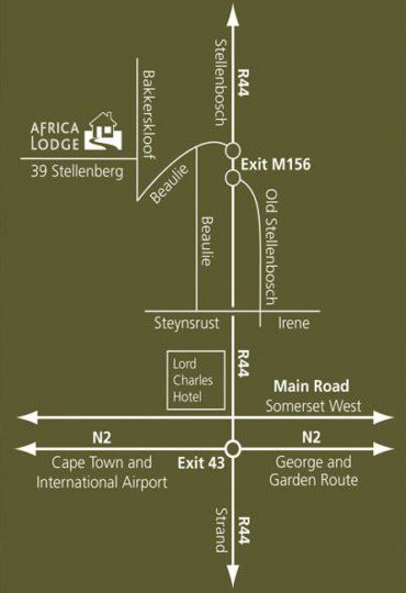 Map Africa Lodge in Somerset West  Helderberg  Western Cape  South Africa