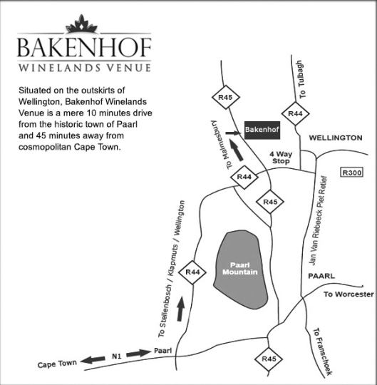 Map Bakenhof Guesthouse in Paarl  Cape Winelands  Western Cape  South Africa