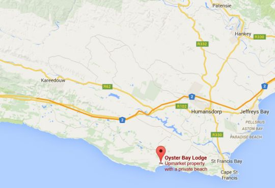 Map Oyster Bay Lodge in St Francis Bay  Cacadu (Sarah Baartman)  Eastern Cape  South Africa