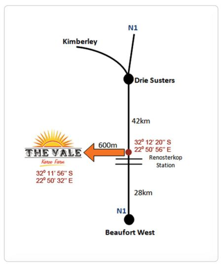 Map The Vale Karoo Farm in Beaufort West  Karoo  Western Cape  South Africa