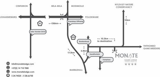 Map Monate Game Lodge in Modimolle  Nylstroom  Bushveld  Limpopo  South Africa