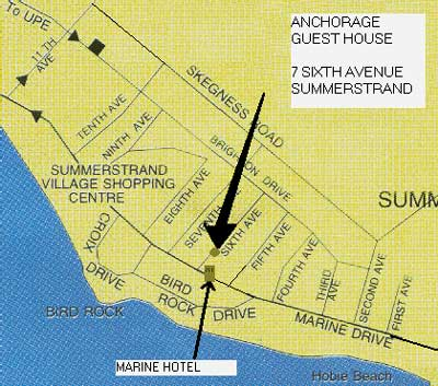 Map Anchorage Guest House in Summerstrand  Port Elizabeth  Cacadu (Sarah Baartman)  Eastern Cape  South Africa