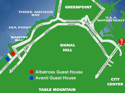 Map Avanti Guest House  in Bantry Bay  Atlantic Seaboard  Cape Town  Western Cape  South Africa