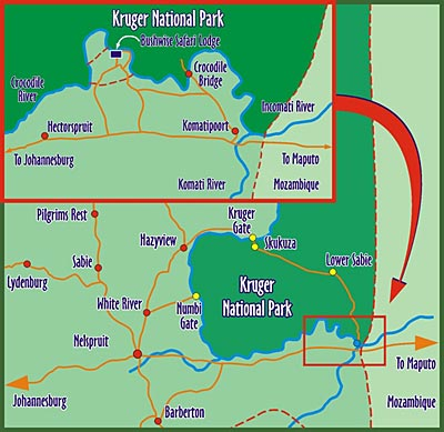 Map Bushwise Safaris Lodge Kruger Park in Marloth Park  Kruger National Park (MP)  Mpumalanga  South Africa