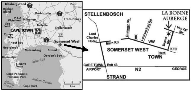 Map La Bonne Auberge in Somerset West  Helderberg  Western Cape  South Africa