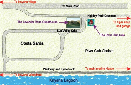 Map The Lavender Rose Guesthouse in Knysna  Garden Route  Western Cape  South Africa