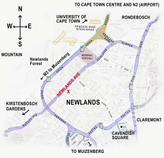 Map Long Cottage Bed & Breakfast in Newlands (CPT)  Southern Suburbs (CPT)  Cape Town  Western Cape  South Africa