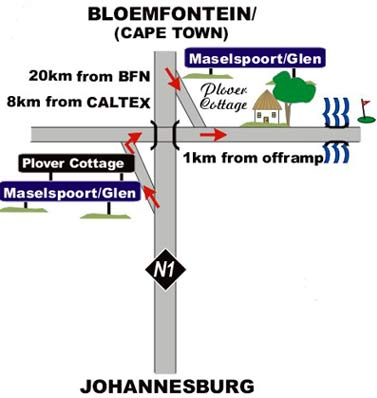 Map Plover Cottage B&B in Bloemfontein  Mangaung  Free State  South Africa