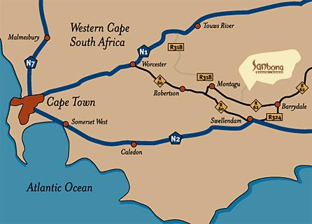 Map Sanbona Wildlife Reserve in Montagu  Breede River Valley  Western Cape  South Africa