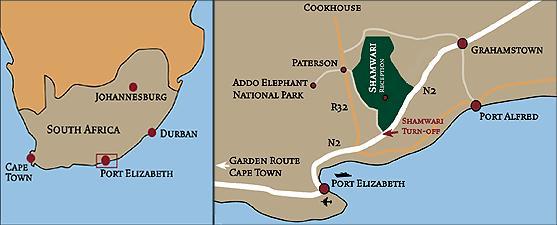 Map Shamwari Game Reserve in Shamwari  Cacadu (Sarah Baartman)  Eastern Cape  South Africa