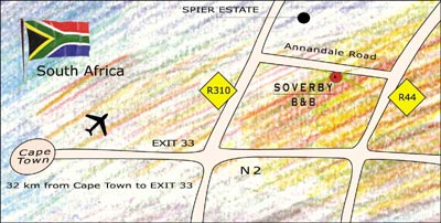 Map Soverby Guesthouse in Stellenbosch  Cape Winelands  Western Cape  South Africa