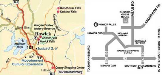 Map Sunbird Guest House in Howick  Midlands  KwaZulu Natal  South Africa