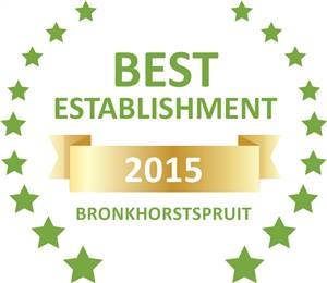 Sleeping-OUT's Guest Satisfaction Award. Based on reviews of establishments in Bronkhorstspruit, Abiekwa guesthouse has been voted Best Establishment in Bronkhorstspruit for 2015