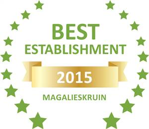 Sleeping-OUT's Guest Satisfaction Award. Based on reviews of establishments in Magalieskruin, Prinshof Manor Guesthouse has been voted Best Establishment in Magalieskruin for 2015