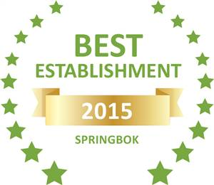 Sleeping-OUT's Guest Satisfaction Award. Based on reviews of establishments in Springbok, Kleinplasie Guest House has been voted Best Establishment in Springbok for 2015