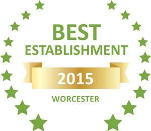 Sleeping-OUT's Guest Satisfaction Award. Based on reviews of establishments in Worcester, Aan de Doorns Guesthouse has been voted Best Establishment in Worcester for 2015
