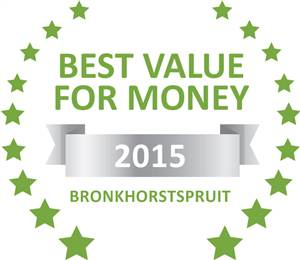 Sleeping-OUT's Guest Satisfaction Award. Based on reviews of establishments in Bronkhorstspruit, Abiekwa guesthouse has been voted Best Value for Money in Bronkhorstspruit for 2015