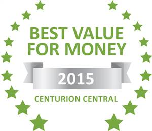 Sleeping-OUT's Guest Satisfaction Award. Based on reviews of establishments in Centurion Central, Lapalosa Lodge has been voted Best Value for Money in Centurion Central for 2015
