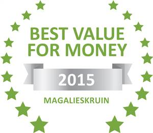 Sleeping-OUT's Guest Satisfaction Award. Based on reviews of establishments in Magalieskruin, Prinshof Manor Guesthouse has been voted Best Value for Money in Magalieskruin for 2015
