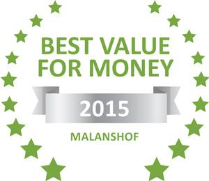 Sleeping-OUT's Guest Satisfaction Award. Based on reviews of establishments in Malanshof, No'31 has been voted Best Value for Money in Malanshof for 2015