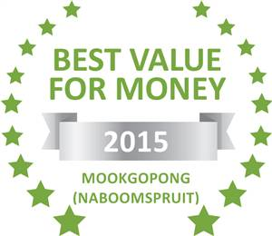 Sleeping-OUT's Guest Satisfaction Award. Based on reviews of establishments in Mookgopong (Naboomspruit), Witwater Safari Lodge & Spa has been voted Best Value for Money in Mookgopong (Naboomspruit) for 2015