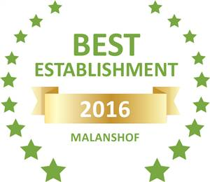 Sleeping-OUT's Guest Satisfaction Award. Based on reviews of establishments in Malanshof, Lona Guesthouse has been voted Best Establishment in Malanshof for 2016