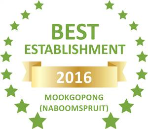 Sleeping-OUT's Guest Satisfaction Award. Based on reviews of establishments in Mookgopong (Naboomspruit), Thaba ya-Metsi Guest House has been voted Best Establishment in Mookgopong (Naboomspruit) for 2016