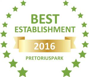 Sleeping-OUT's Guest Satisfaction Award. Based on reviews of establishments in Pretoriuspark, The Woodpecker Inn has been voted Best Establishment in Pretoriuspark for 2016