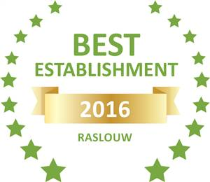 Sleeping-OUT's Guest Satisfaction Award. Based on reviews of establishments in Raslouw , De Zoete Rust Guest House  has been voted Best Establishment in Raslouw  for 2016