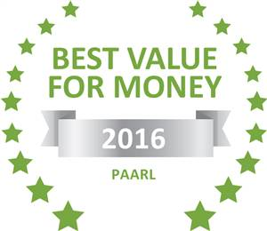 Sleeping-OUT's Guest Satisfaction Award. Based on reviews of establishments in Paarl, Black Pearl Cottage has been voted Best Value for Money in Paarl for 2016