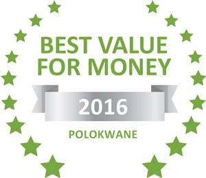 Sleeping-OUT's Guest Satisfaction Award. Based on reviews of establishments in Polokwane, Pafuri Self Catering has been voted Best Value for Money in Polokwane for 2016